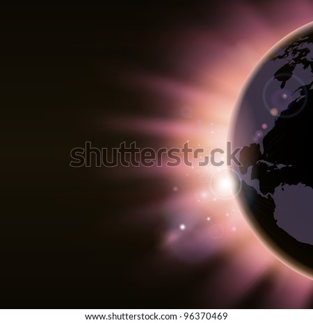 Light of sunrise appearing over the world globe in warm colors. America side visible. - stock vector