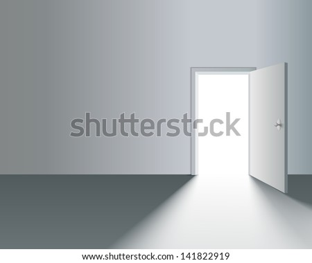 Light Open Door in White Wall with shadow - stock vector