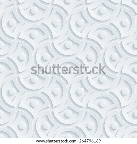 Light perforated paper with cut out effect. Abstract 3d seamless background. Vector EPS10.  - stock vector