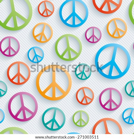 Light perforated paper with cut out effect. 3d peace simbol seamless background. Vector EPS10. - stock vector