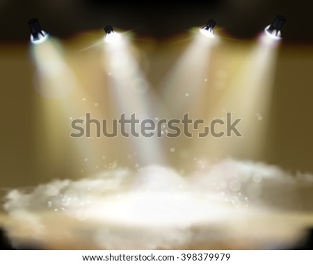 Light performance. Vector illustration. on the stage - stock vector