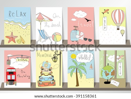 Light pink blue green collection for banners, Flyers, Placards with balloon,world traveling on airplane, planning a summer beach vacation, tourism and journey objects and passenger luggage in london - stock vector