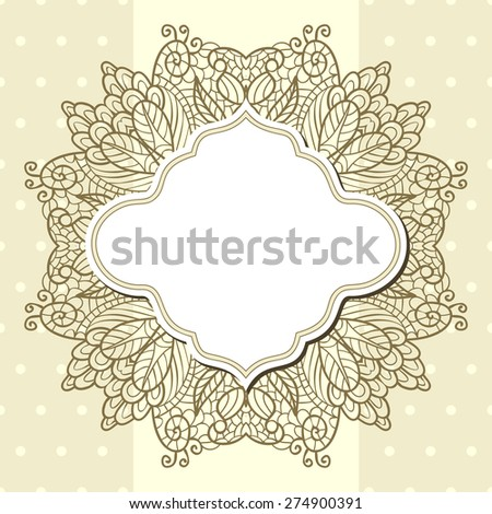 Light polka dot background with blank retro label and lace - stock vector