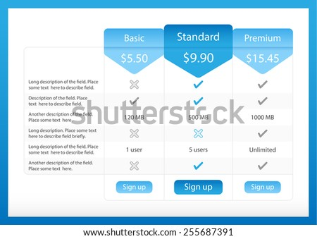 Light pricing table with 3 options and one recommended plan - stock vector