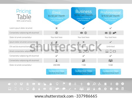 Light pricing table with 3 options. Icon set included - stock vector