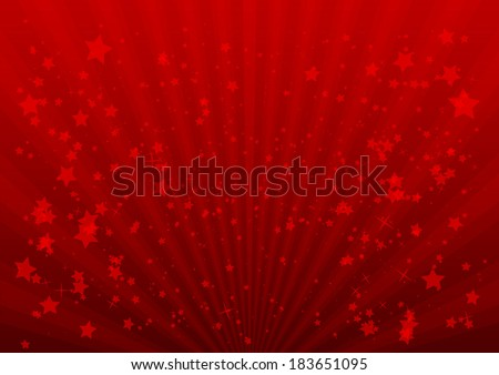 Light rays and stars vector background illustration - Red blast and stars vector background template - stock vector