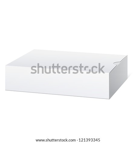 Light Realistic Package Cardboard Box. Lying horizontally. Vector illustration - stock vector