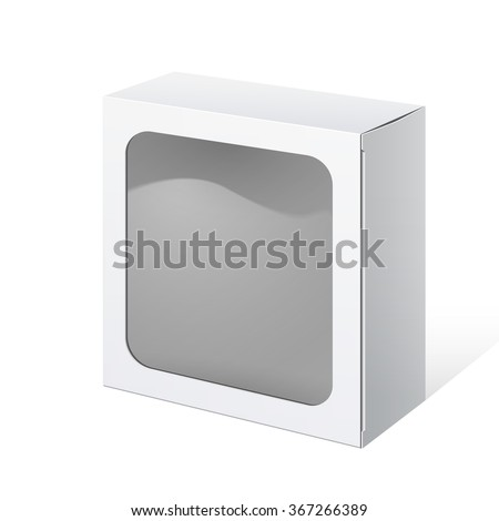 Light Realistic Package Cardboard Box square shape with a transparent plastic window. Vector illustration