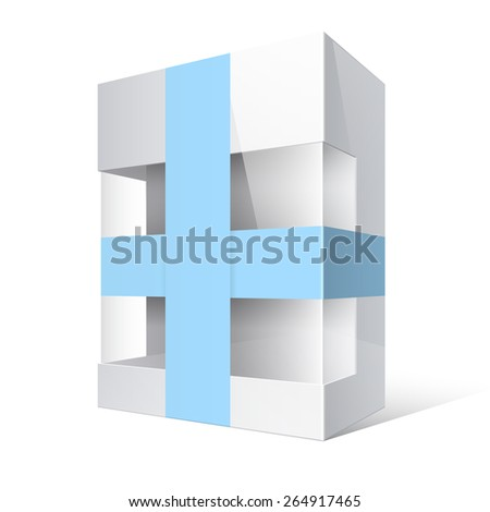 Light Realistic Package Cardboard Box with a transparent plastic window and blue ribbon  - stock vector