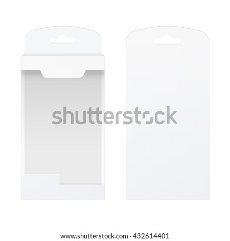 Light Realistic Package Cardboard Box with a transparent plastic window. Front and rear view. Template For Mockup Your Design. vector illustration. - stock vector