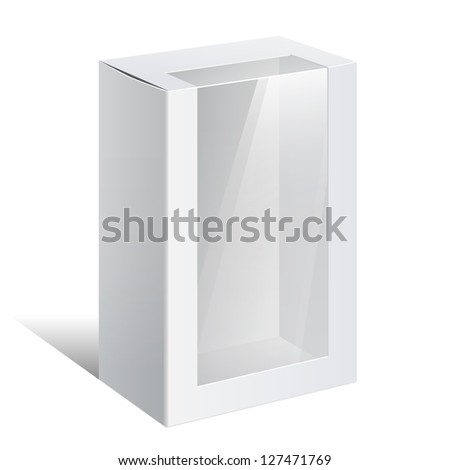 Light Realistic Package Cardboard Box with a transparent plastic window. On separate layers box and plastic window. Vector illustration - stock vector