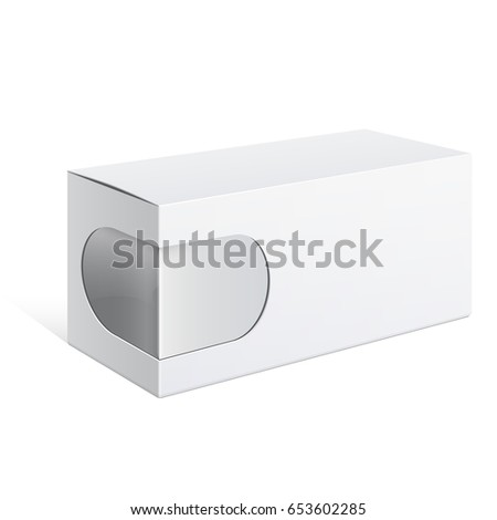 Light Realistic Package Cardboard Box with a transparent plastic window. Template For Mockup Your Design. vector illustration.