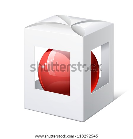 Light Realistic Package Cardboard Box with a transparent Windows and red ball inside. Christmas Toy. Vector illustration - stock vector