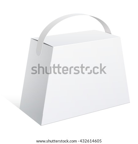 Light Realistic Package Cardboard trapezoidal Box with a handle. Vector illustration