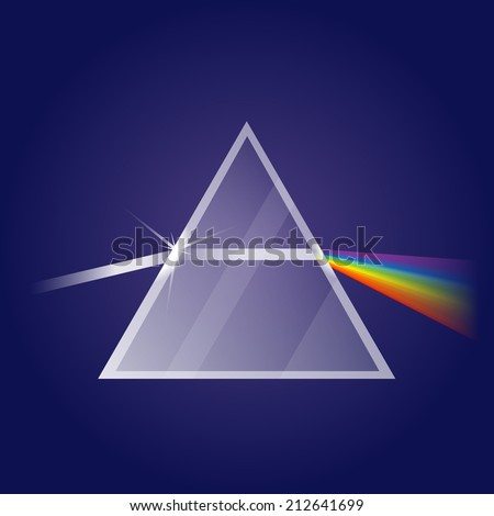 Light refraction in prism, eps10 illustration make transparent objects and opacity masks - stock vector