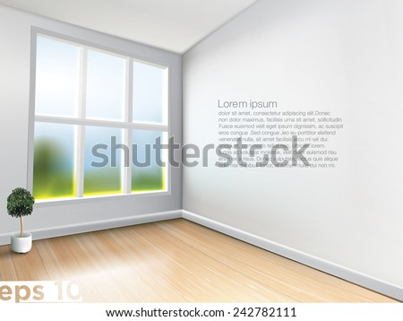 Light room with big shiny window on nice spring day. - stock vector