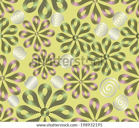 Light seamless background with flower patterns and curls - stock vector