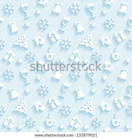 Light seamless holiday background with white flat Christmas symbols - stock vector