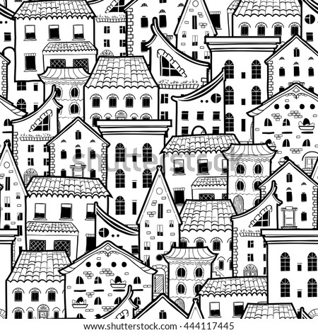 Light seamless pattern with houses  doodle house vector background   monochrome house wallpaper  good. Light Seamless Pattern Houses Doodle House Stock Illustration