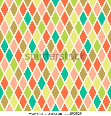 Light Seamless Warm Color Argyle Pattern. Rhombus Background - stock vector