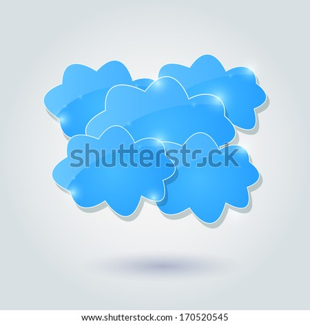 Light Shiny Cloud Group Icon. Vector Sharing Concept Design