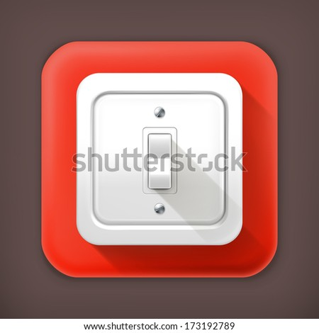 Light Switch Long Shadow Vector Icon