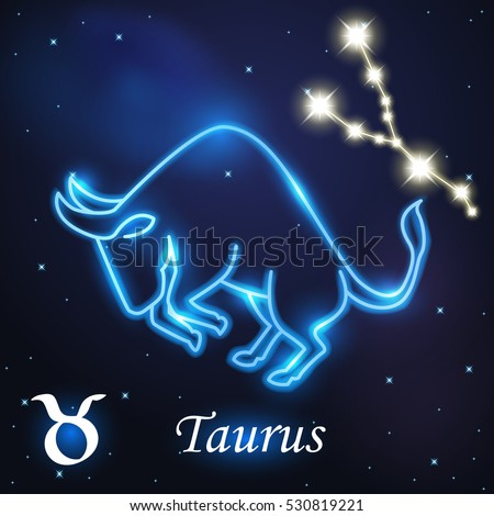 Light Symbol Of Bull To Taurus Of Zodiac And Horoscope Concept Vector Art And Illustration