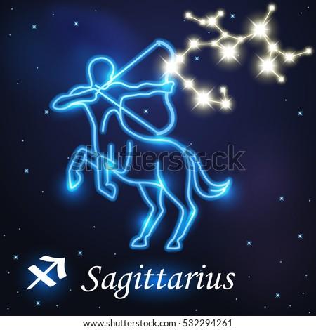 light symbol centaur archery sagittarius zodiac stock vector (2018