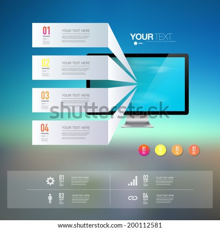 Light text boxes with realistic 3d computer monitor with blue sky wallpaper  can be used for workflow layout, diagram, chart, number options, web design.  Eps 10 stock vector illustration  - stock vector