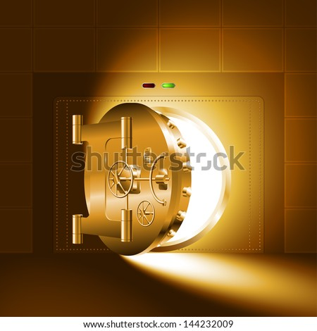 Light through a half-open door of the bank safe (bank vault). The gold version. EPS-8, without Meshes. - stock vector