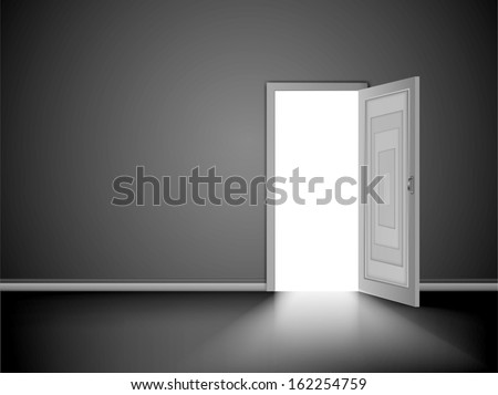 Light through an open door in empty room. Vector - stock vector