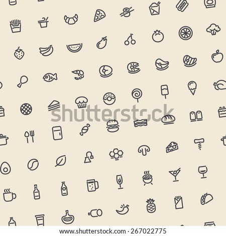 Light Tilted Seamless Pattern with Dark Food Icons. Editable pattern in swatches. - stock vector