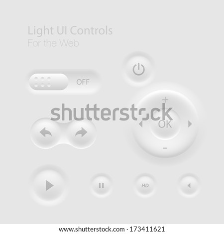 Light UI Controls Web Elements: Buttons, Switchers,  - stock vector