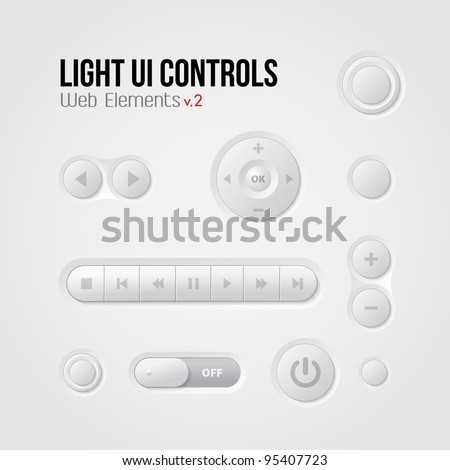 Light UI Controls Web Elements 2: Buttons, Switchers, Player, Audio, Video: Play, Stop, Next, Pause