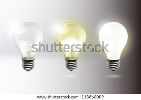 Light up bulb. Vector background design. - stock vector