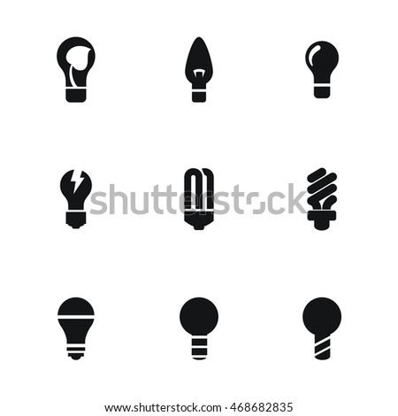 Light vector icons. Simple illustration set of 9 light elements, editable icons, can be used in logo, UI and web design