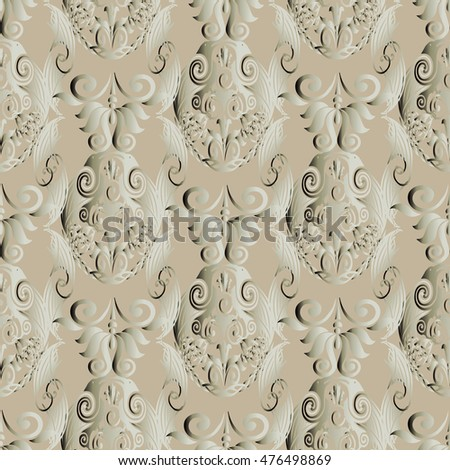 Light vintage vector seamless pattern background wallpaper with  decorative vintage antique royal ornaments. Luxury illustration. Endless  texture.