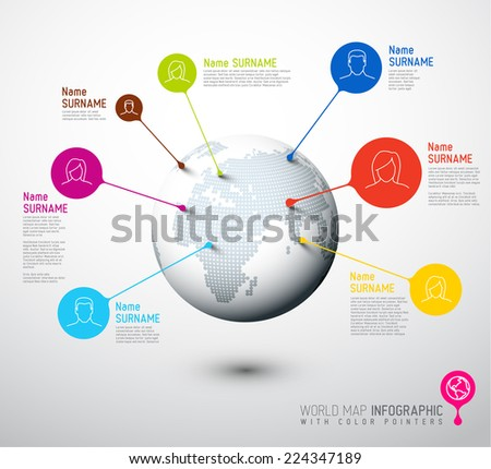 Light World map globe with people pointer marks -  communication concept - stock vector
