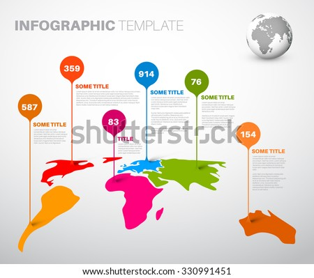 Light World map infographic template with droplet pointer marks  - stock vector