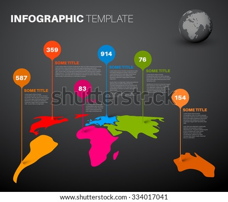 Light world map infographic template droplet stock vector light world map infographic template with droplet pointer marks dark version sciox Image collections