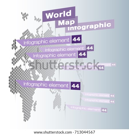 Light world map infographic template flat vectores en stock light world map infographic template with odern flat paper pointer marks vertical on the gumiabroncs Images