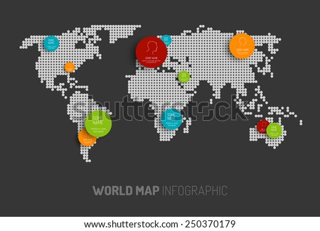 Light World map with pointer marks -  communication concept, dark version - stock vector