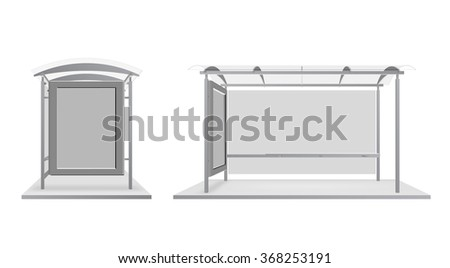 Lightbox billboard at a bus stop, on a white background. Illustration for your design. - stock vector