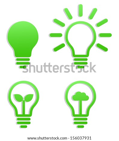 lightbulb green sticker icon logotype