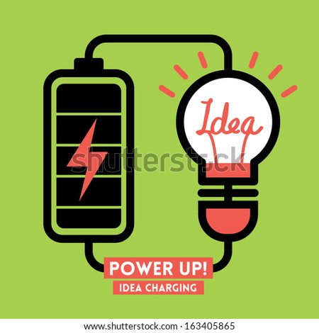 Lightbulb Idea Charging Battery Power Vector - stock vector