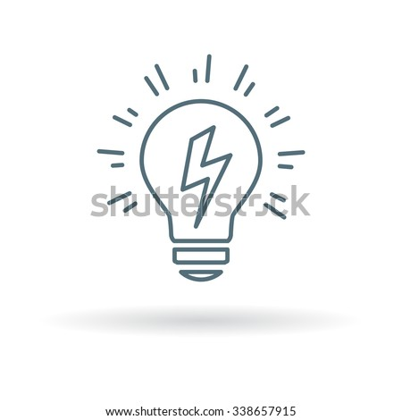 Lightbulb Idea icon. Halogen power sign. Electric light charge symbol. Thin line icon on white background. Vector illustration. - stock vector