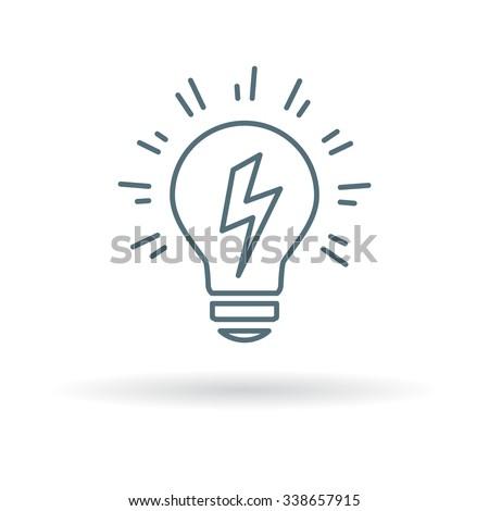 Lightbulb Idea icon. Lightbulb Idea sign. Lightbulb Idea symbol. Thin line icon on white background. Vector illustration. - stock vector