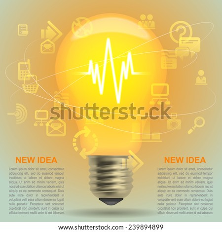 Lightbulb idea symbol. Modern design template and business concept. Vector illustration  - stock vector