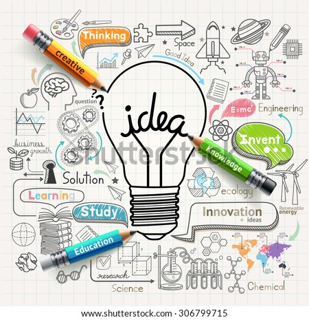 Lightbulb ideas concept doodles icons set. Vector illustration. - stock vector