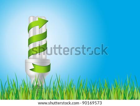 lightbulb on the grass field concept - stock vector
